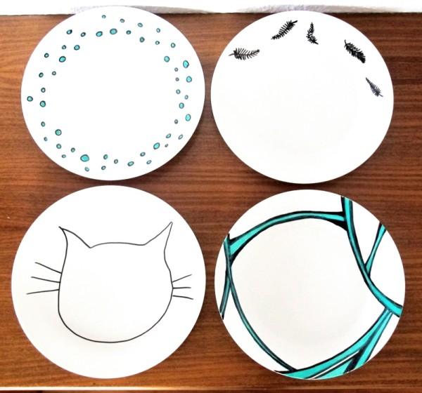 Porzellan, Teller, Selbst Bemalen, DIY, Upcycling  ~ Geschirr Nähen